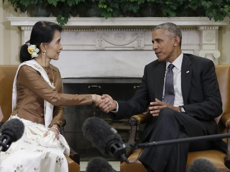 President Barack Obama and Myanmar's leader Aung San Suu Kyi meet in the Oval Office of the White House last month.