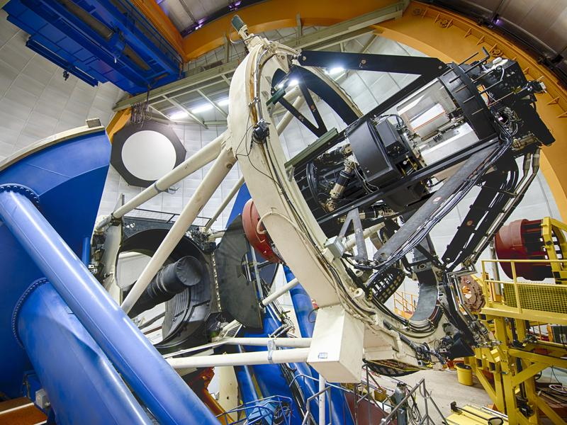 The Dark Energy Camera, commissioned by the U.S. Department of Energy to make a map of distant galaxies, is mounted on the Blanco Telescope at the Cerro Tololo Inter-American Observatory in the Chilean Andes.