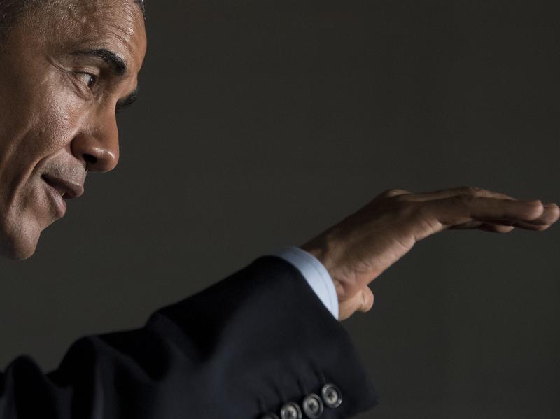 President Obama speaking Sunday in Chicago.