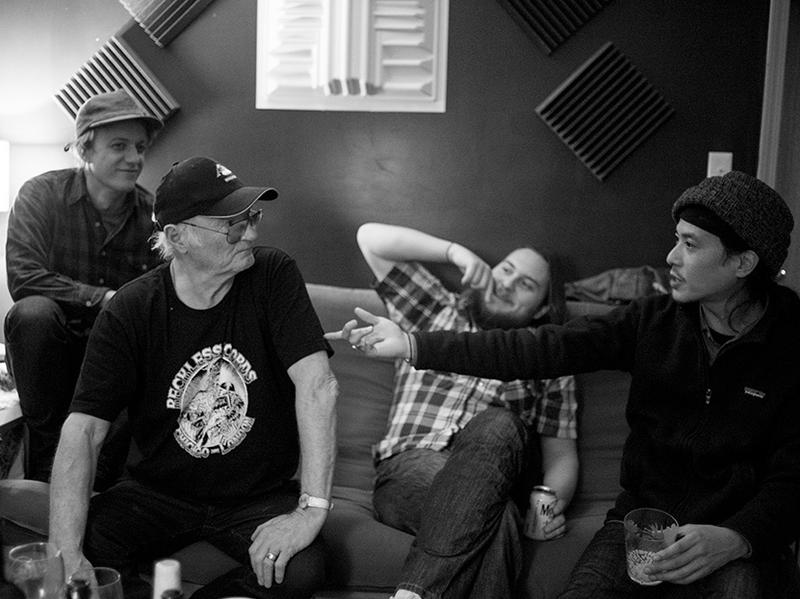 Michael Chapman's new album, <em>50</em>, was produced by Steve Gunn (left). Nathan Bowles (second from right) and Jimy SeiTang (right) also play on the album.
