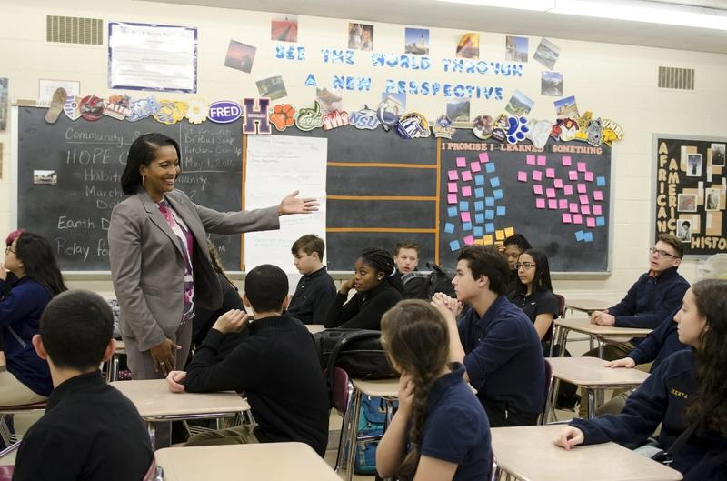 """Jahana Hayes says the key to teaching is paying attention to """"the whole child,"""" or finding out what each student needs to stay engaged in class. (Courtesy Waterbury Public Schools)"""