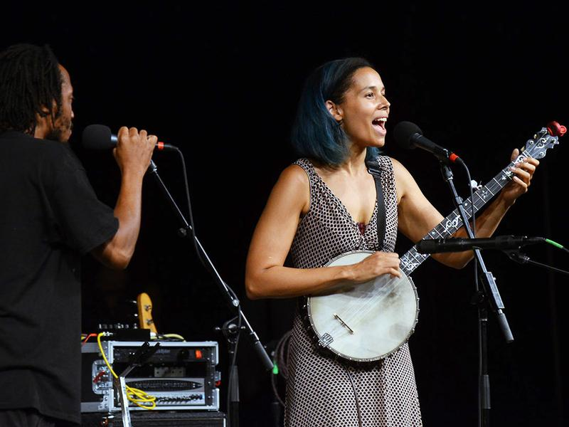 Rhiannon Giddens performs live at the Augusta Heritage Festival in Elkins, W.Va.