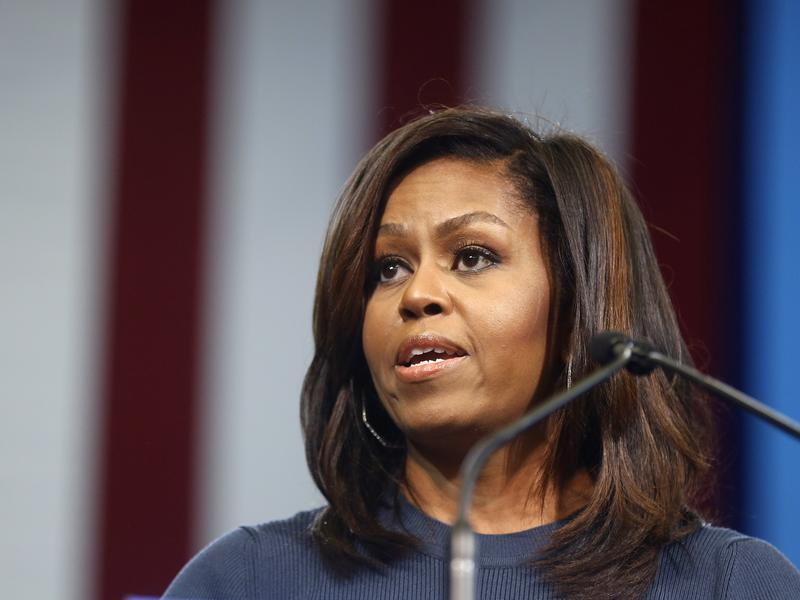 First lady Michelle Obama speaks during a campaign rally for Democratic presidential candidate Hillary Clinton Oct. 13 in Manchester, N.H.