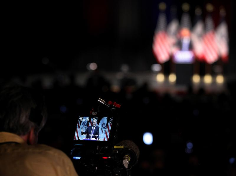 Republican presidential candidate Donald Trump seen on a camera monitor during a campaign event this summer.