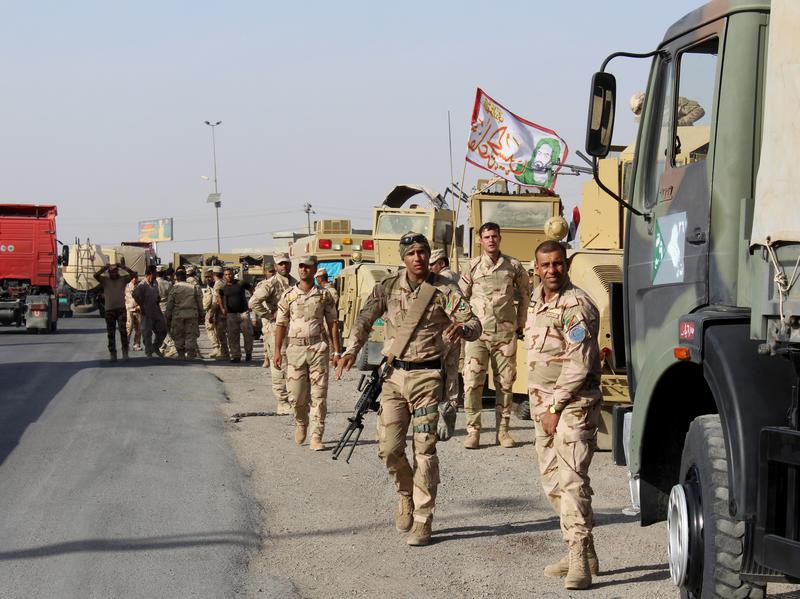 The Iraqi Army's 76th Brigade Command forces in Kirkuk move toward Mosul on Oct. 11 in an operation to retake the city from ISIS control.