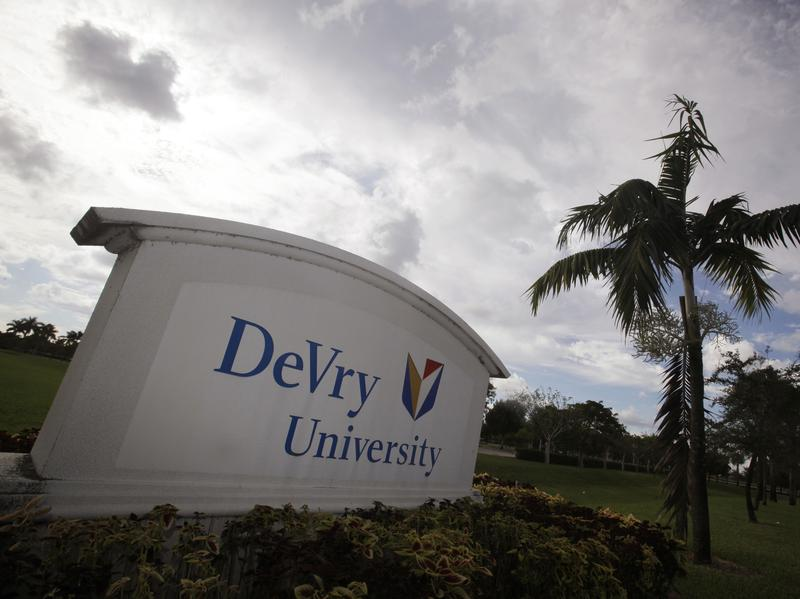 The entrance to the DeVry University campus in Miramar, Fla.