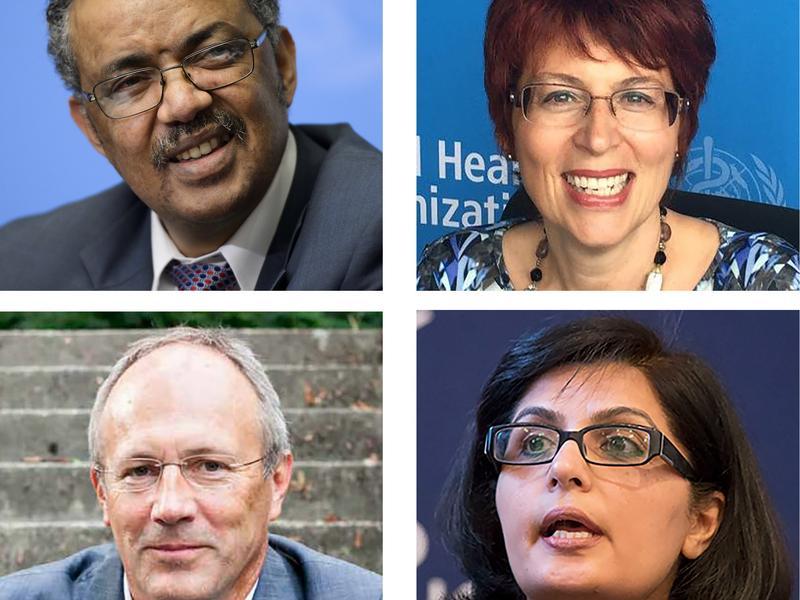 One of these candidates will be the next head of WHO. Top row from left: Tedros Adhanom Ghebreyesus, Flavia Bustreo, David Nabarro. Bottom row from left: Miklós Szócska, Sania Nishtar, Philippe Douste-Blazy.