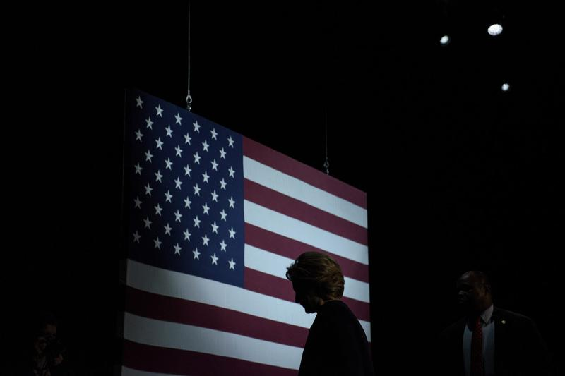 Democratic presidential nominee Hillary Clinton leaves after speaking to supporters during a fundraiser at the Civic Center Auditorium Oct. 13, 2016 in San Francisco. (Brendan Smialowski/AFP/Getty Images)