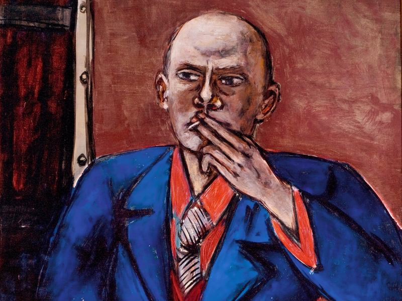<em>Self-Portrait in Blue Jacket</em> (1950), by Max Beckmann. The painter had been on his way to see an exhibit featuring this self-portrait at the time of his heart attack.