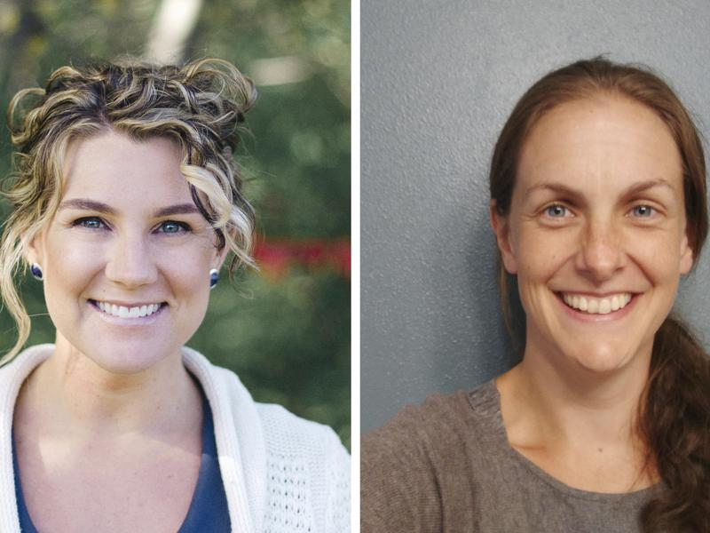 Melissa Smith (left) offers some advice to Sarah Weeldreyer about amicable divorce.