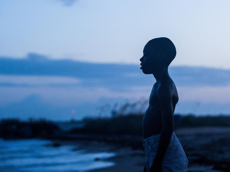 Alex R. Hibbert as Chiron, a young black man growing up gay in an impoverished part of Miami in <em>Moonlight</em>. The film is told with different actors playing Chiron at different stages of his life.