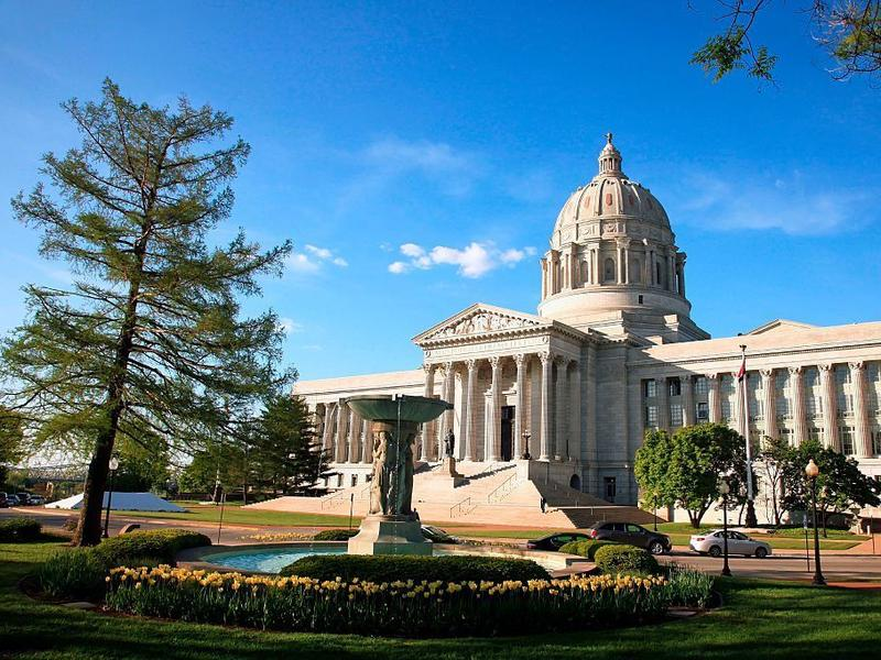 The state capitol building in Jefferson City, Missouri. Voters will vote on a ballot measure that would end the state's current practice of allowing unlimited campaign contributions and reimpose limits of $2,600 per candidate.
