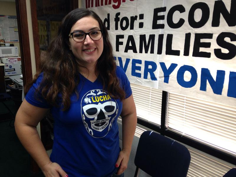 Alejandra Gomez runs a group that helped register 150,000 Latinos in Arizona this year. If they go to the polls, the new voters could sway the election in November. (Peter O'Dowd/Here & Now)