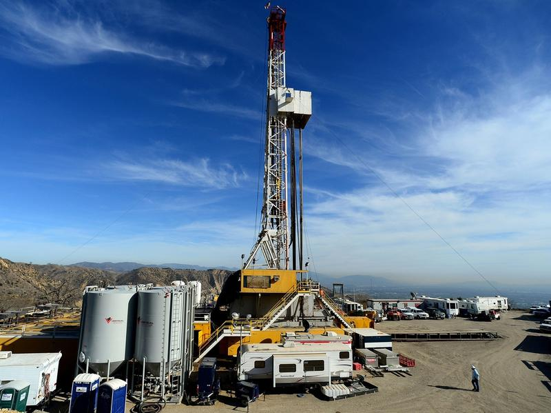 Crews work to stop a gas leak at a relief well at the Aliso Canyon facility in Los Angeles in December 2015. A federal interagency task force has released dozens of pipeline safety recommendations to prevent another leak.