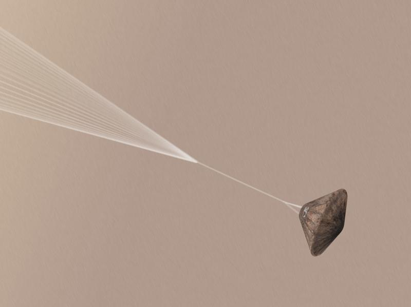 A visualization shows what the European Space Agency hopes Schiaparelli's Mars landing looks like. The probe will be making its six-minute descent through the atmosphere on Wednesday.