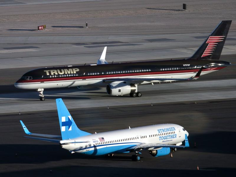 Donald Trump and Hillary Clinton's campaign planes at McCarran International Airport in Las Vegas ahead of the third and final presidential debate Wednesday night.