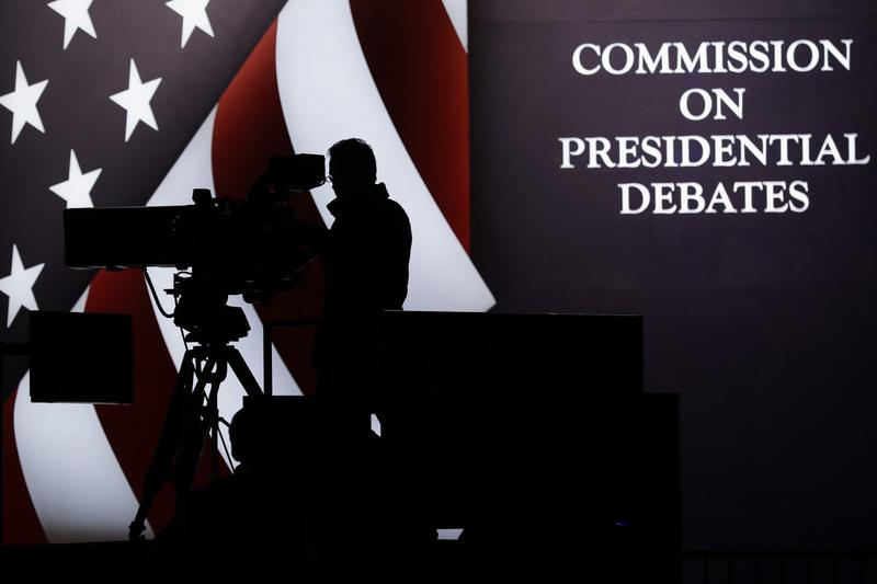 A television camera operator tests his position during a rehearsal for the third presidential debate between Republican presidential nominee Donald Trump and Democratic presidential nominee Hillary Clinton at UNLV in Las Vegas, Tuesday, Oct. 18, 2016. (Patrick Semansky/AP)