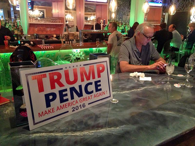 Donald Trump supporters gathered at a Las Vegas restaurant to watch the final presidential debate. (Peter O'Dowd/Here & Now)
