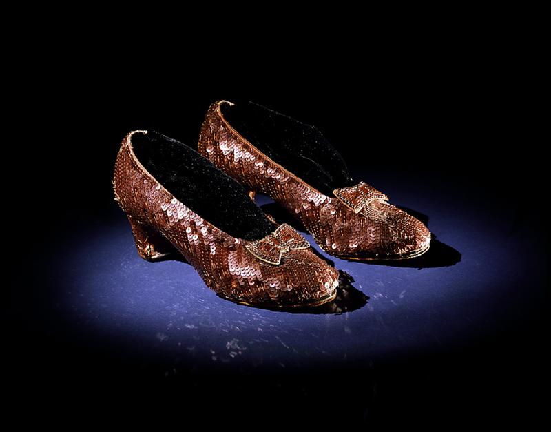 """The sequined shoes worn by Judy Garland in the 1939 film """"The Wizard of Oz."""" (Courtesy National Museum of American History)"""