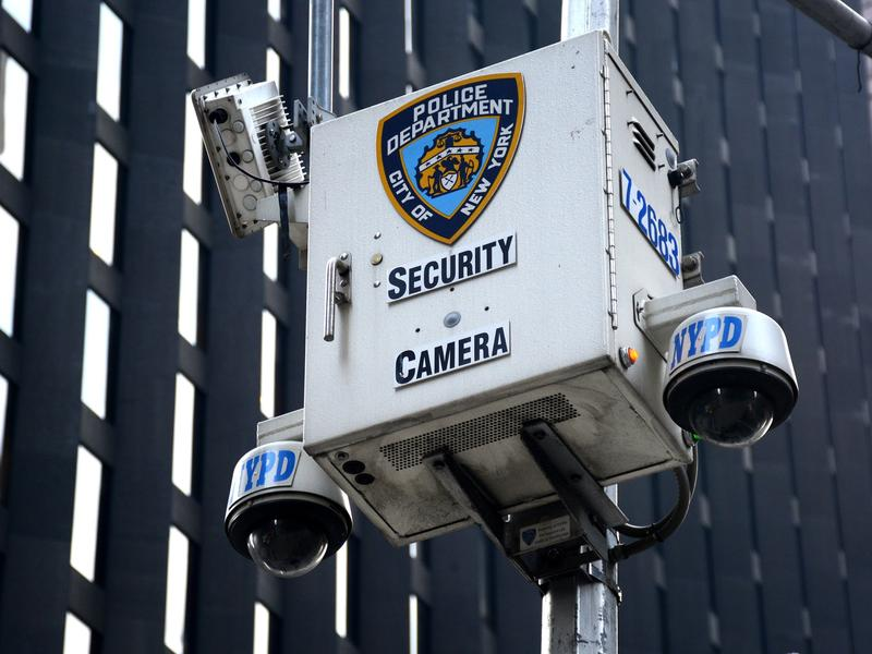 A New York Police Department security camera set up along a street in New York City on Aug. 26.