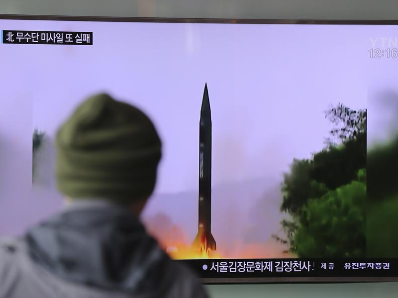 A man watches a TV news program showing a file image of missile launch conducted by North Korea, at the Seoul Railway Station in Seoul, South Korea, on Oct. 20. The U.S. military said it detected a failed North Korean missile launch that day. The U.S. Strategic Command issued a statement late Wednesday saying it presumed the missile was a Musudan intermediate-range ballistic missile.