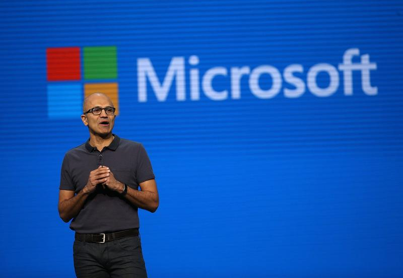 Microsoft CEO Satya Nadella delivers the keynote address during the 2016 Microsoft Build Developer Conference on March 30, 2016 in San Francisco. (Justin Sullivan/Getty Images)