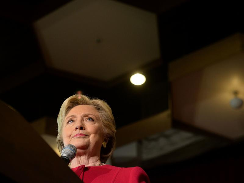 Hillary Clinton addresses an early vote rally at Broward College in Coconut Creek, Fla., on Tuesday. WikiLeaks continues to release emails hacked from the personal account of Clinton's campaign chairman, John Podesta.