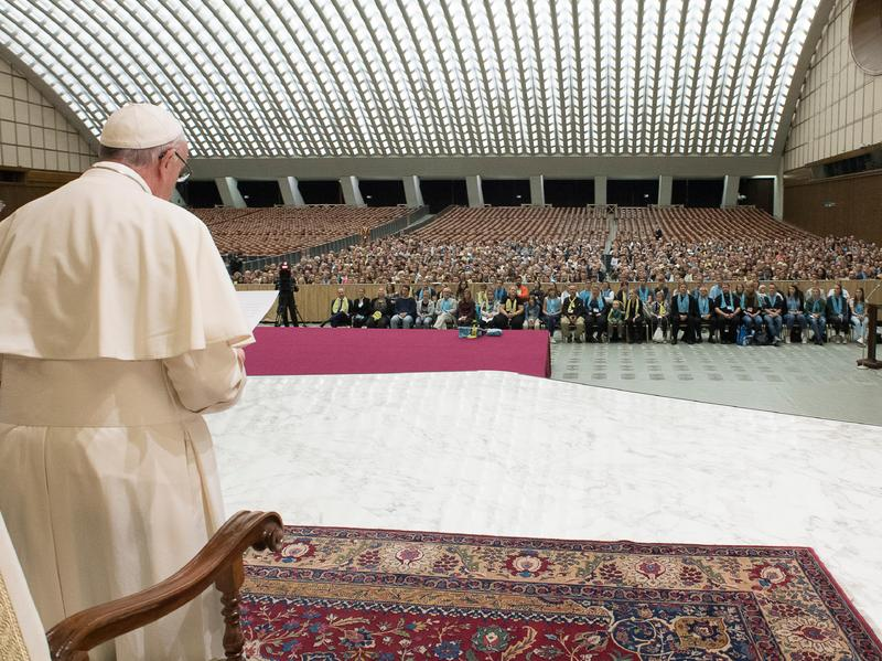 Pope Francis speaks to Lutheran pilgrims at the Vatican on Oct. 13. The pope is traveling to Lund, Sweden — where the Lutheran World Federation was founded 70 years ago — on Monday to take part in the yearlong commemoration of the Protestant Reformation, launched by Martin Luther in 1517.