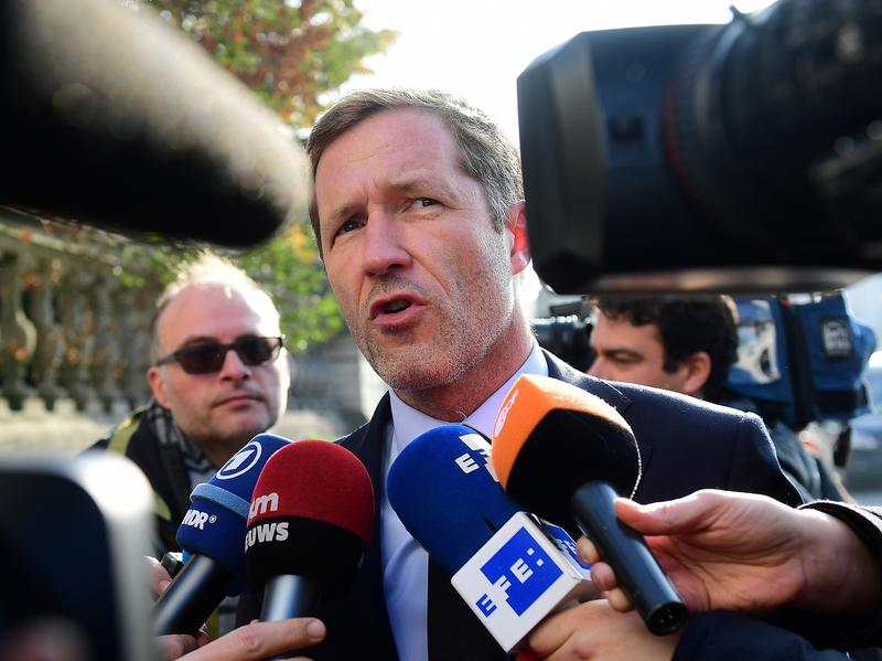 Wallonia leader Paul Magnette speaks to the media Wednesday prior to a meeting with Belgium's leaders. Wallonia objected to parts of a major European Union-Canada trade deal that was seven years in the making. But Magnette said Thursday he was willing accept the revised terms.