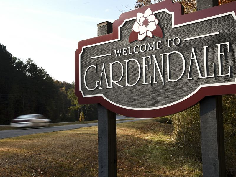 A welcome sign at the city limit of Gardendale, Ala. The city is trying to break away from the larger Jefferson County School System to form its own system.