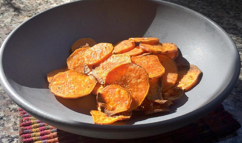 Kathy's sweet potato chips. (Kathy Gunst for Here & Now)