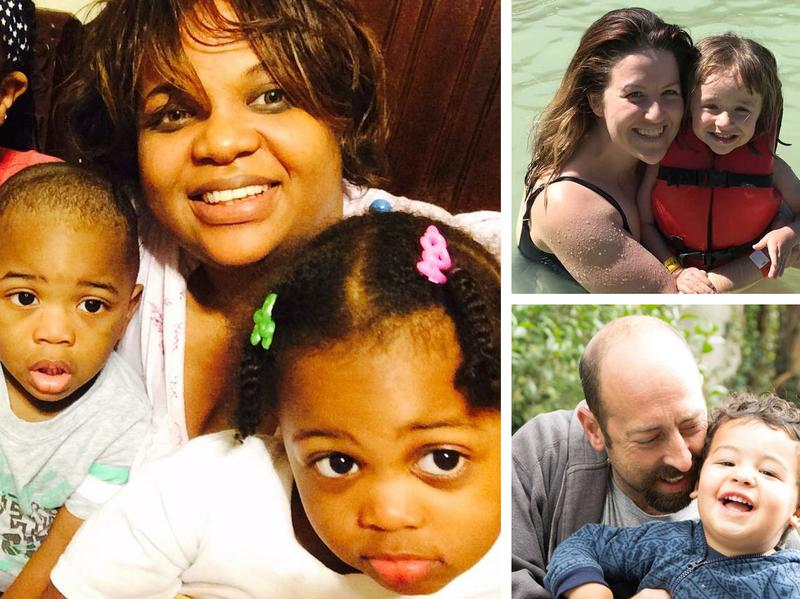 (Left) Shana Steele with her three children. (Top) Vannessa Kamerschen with her daughter. (Bottom) David Meissner with his son.