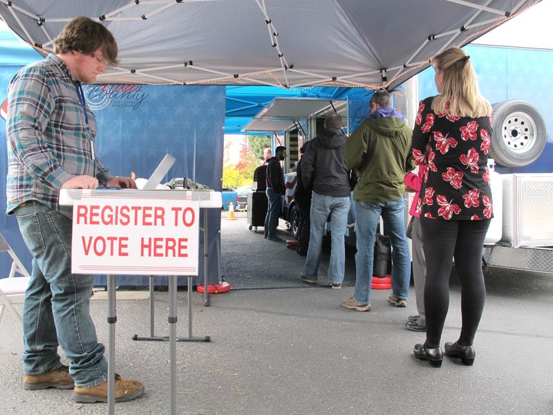 Idaho Power's downtown Boise office is one of the sites that's hosted the Ada County mobile voting trailer. Idaho is one of the states that has same-day voter registration.