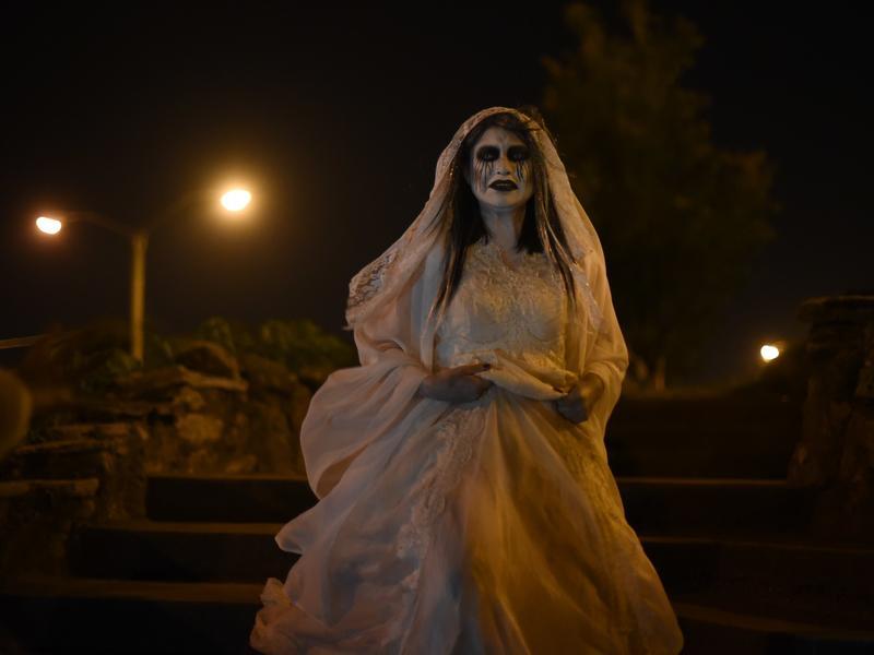 An actor dresses as La Llorona at a celebration Oct. 31, 2015 in Guatemala City.