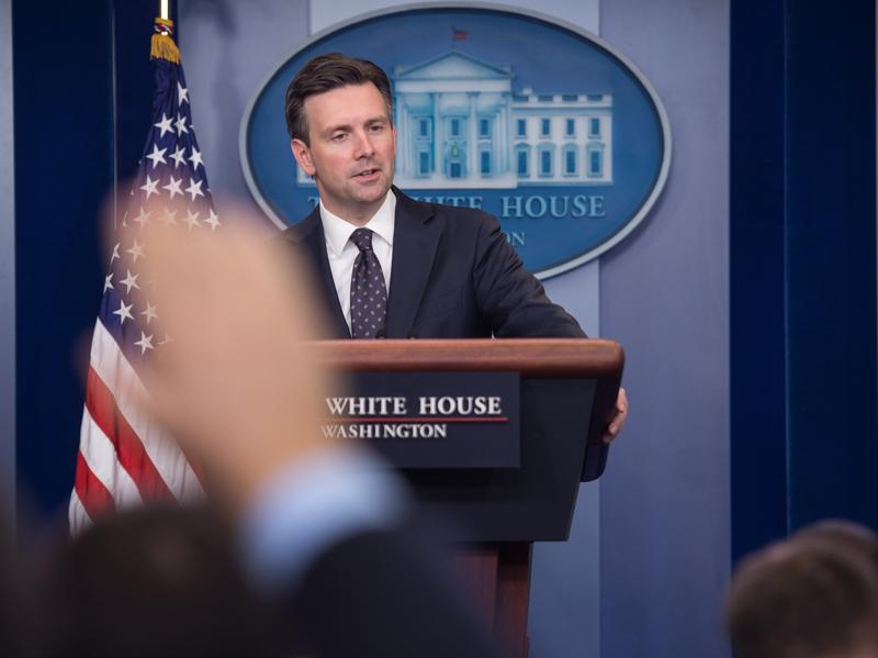 """White House spokesman Josh Earnest at the White House briefing Tuesday, where he said he would """"neither defend nor criticize what Director [James] Comey has decided to communicate to the public"""" regarding the investigation of Hillary Clinton's private email server."""