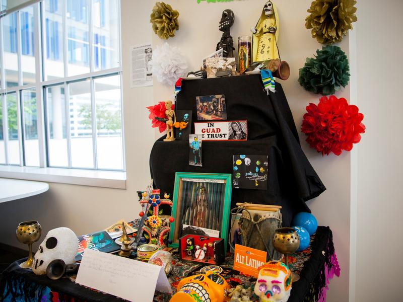 Our Día de los Muertos altar in the <em>Alt.Latino</em> World Headquarters celebrates Prince, David Bowie and many more of the musicians and loved ones we lost this year.