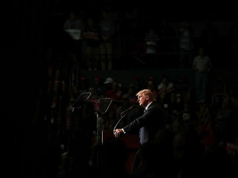 "Republican presidential nominee Donald Trump campaigns at a rally in Eau Claire, Wis., on Tuesday. ""Mr. Trump and the campaign denounces hate in any form,"" the campaign said in a statement Tuesday evening."