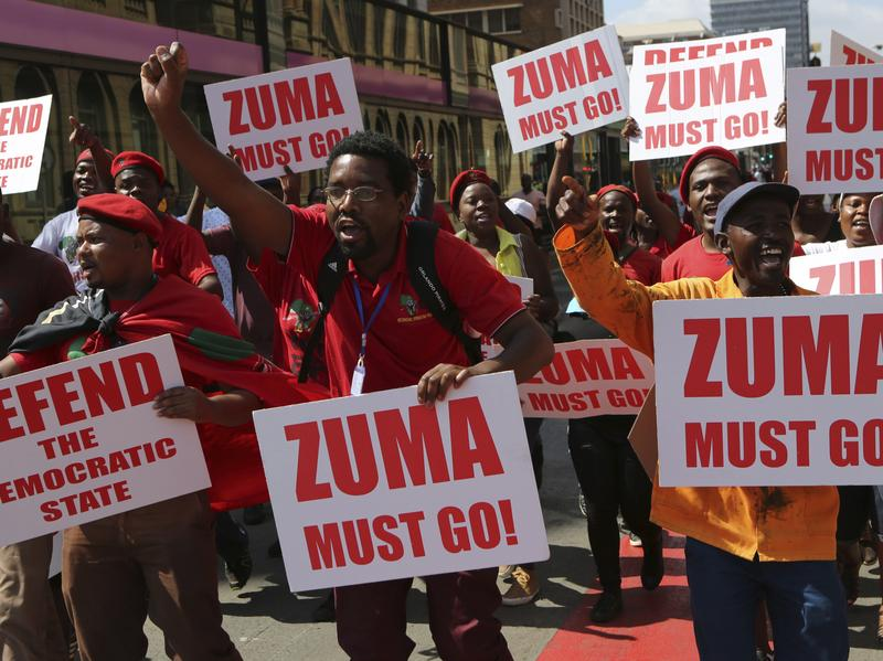 Protesters march in downtown Pretoria, South Africa, on Wednesday.