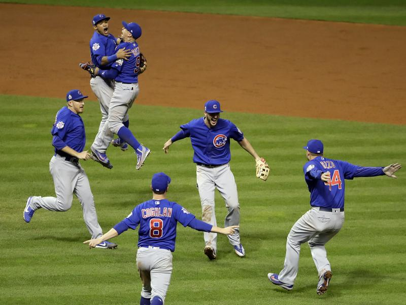 The Chicago Cubs celebrate after winning Game 7 and the World Series against the Cleveland Indians.