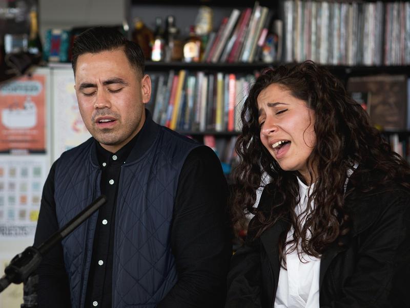 Ta-Ku and Wafia perform at NPR's Tiny Desk on Oct. 7. (Raquel Zaldivar/NPR)