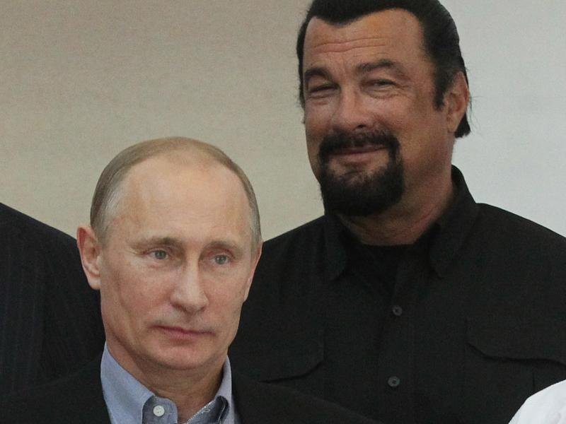 Actor Steven Seagal was granted Russian citizenship by a decree from President Vladimir Putin on Thursday. The two are seen here visiting a Russian martial arts and combat school in 2013.
