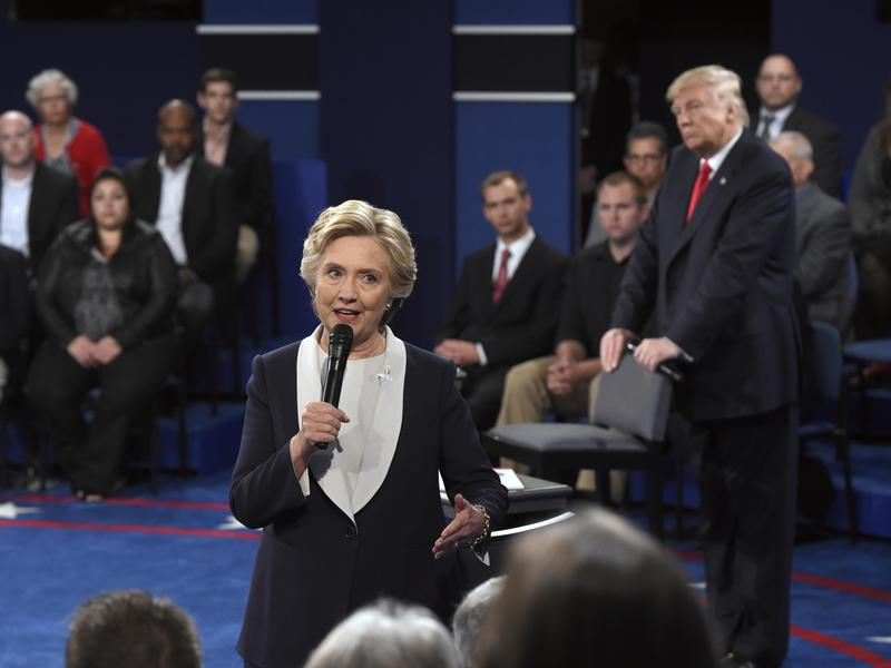 Hillary Clinton spoke to the audience during the second presidential debate.