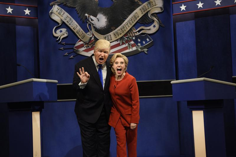 "Alec Baldwin, as Donald Trump, and Kate McKinnon, as Hillary Clinton, in a skit from NBC's ""Saturday Night Live."" (Courtesy Will Heath/NBC)"