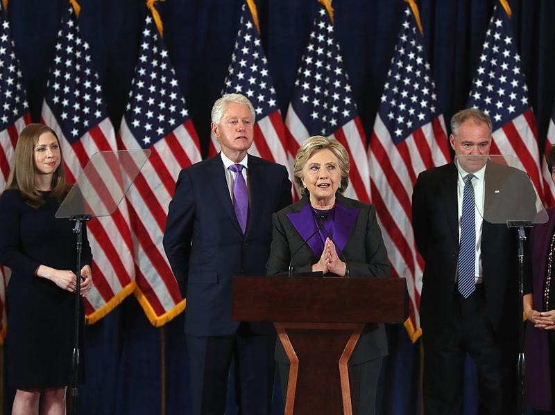 Former Secretary of State Hillary Clinton concedes the presidential election Wednesday morning in New York City.