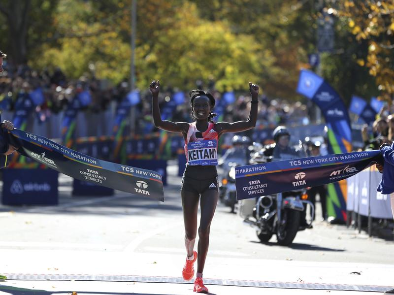 Mary Keitany of Kenya crosses the finish line first in the women's division of the 2016 New York City Marathon on Sunday, Nov. 6.
