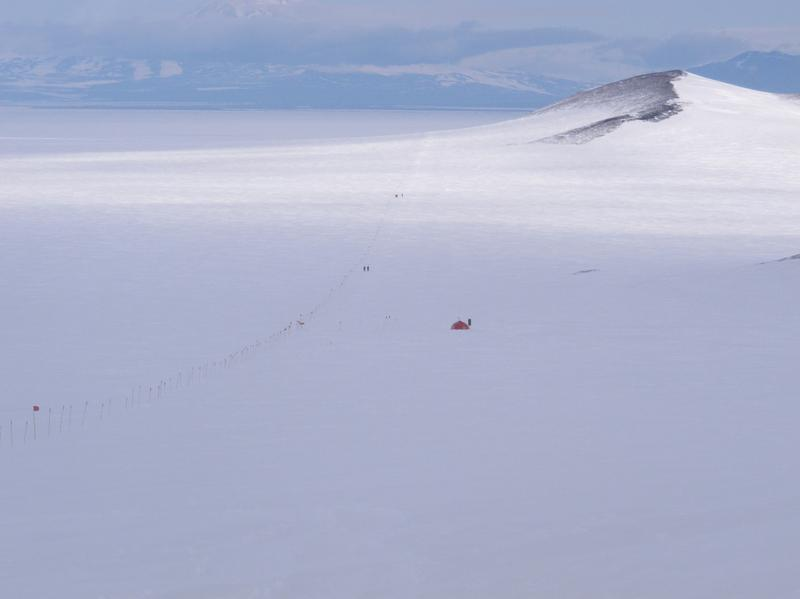This 2013 photo shows a survival shelter situated between McMurdo Station, a U.S. scientific research facility, and Castle Island on Ross Island, Antarctica. Secretary of State John Kerry is starting a visit to McMurdo Station and the South Pole on Tuesday.