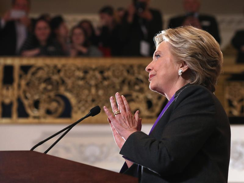 Hillary Clinton concedes the presidential election at the New Yorker Hotel on Wednesday in New York City.