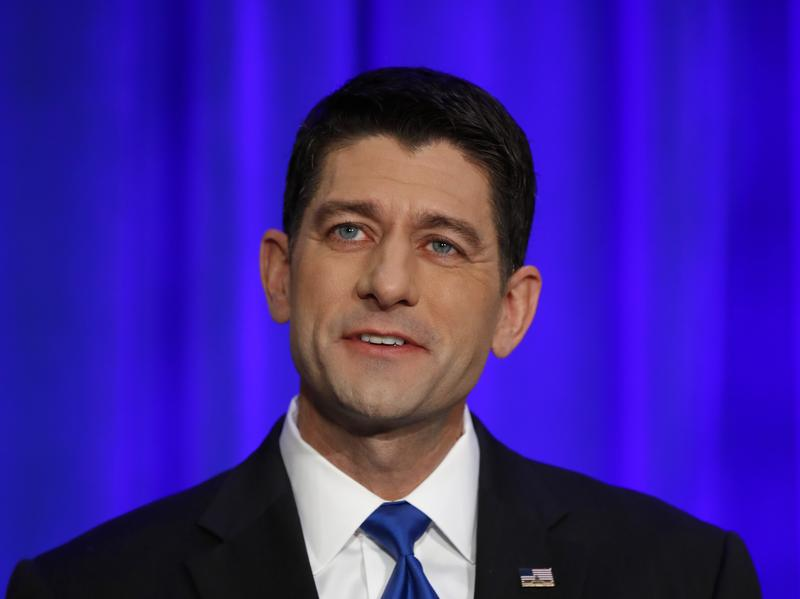 House Speaker Paul Ryan speaks about the election during a news conference in Janesville, Wis., on Wednesday.
