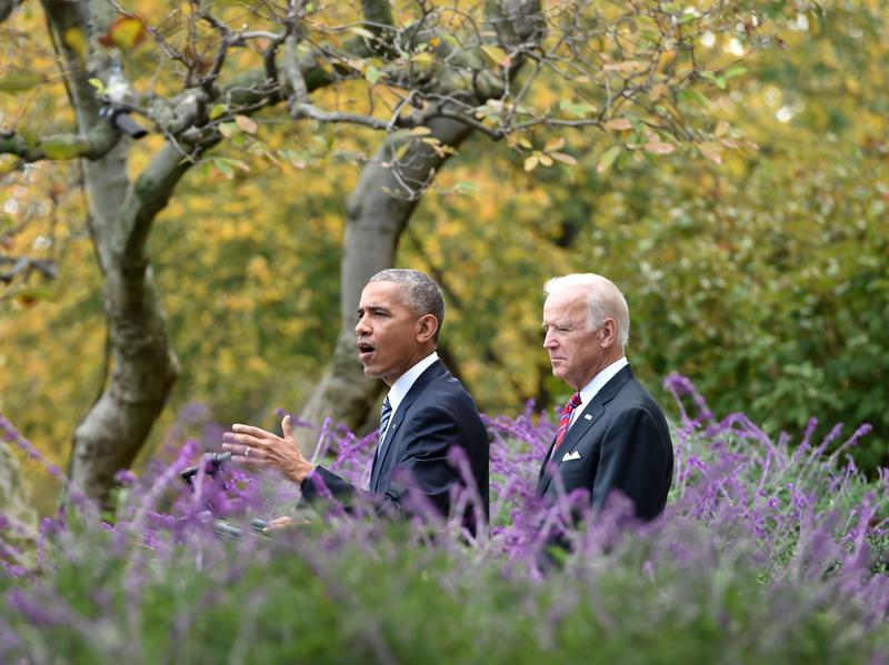 President Obama delivers a speech with Vice President Biden at the White House on Wednesday.