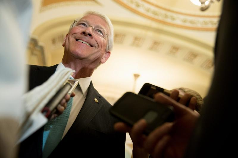 Sen. Roger Wicker, R-Miss., speaks to reporters following a Senate policy luncheon on Capitol Hill in Washington in June 2015. (Andrew Harnik/AP)